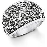s. Oliver Damen-Ring Swarovski Elements Edelstahl Kristall grau Rundschliff - 5446