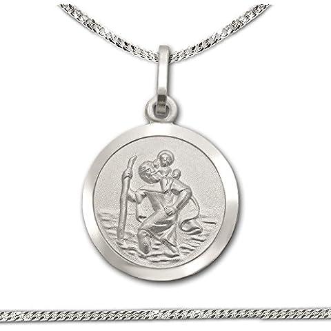 CLEVER SCHMUCK Juego cadena con colgante, 13mm de diámetro, interior mate, borde brillante, cadena de 40cm, plata de ley 925