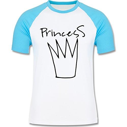 Statement Shirts - Princess Krone - zweifarbiges Baseballshirt für Männer Weiß/Türkis