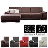 CAVADORE Eckcouch Corianne / Couch L-Form in Lederoptik und modernem Design / Inkl. beidseitiger Armteilverstellung und Longchair links / 282 x 80 x 162  / Kunstleder braun