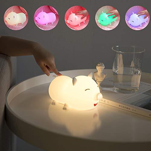AOKARLIA Nachtlicht für Kindergarten LED Bunt Cartoon Nachtlicht mit Touch Sensor | USB Aufladen Silikon-Nachttischlampen für Kinder, Kleinkinder,White -
