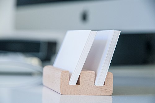 Business Card Holder Display Stand ✮ 50 Cards Storage Capacity ✮ Natural Beech Wood - Business Card Organiser, Greeting Card Display Desk Stand, Credit Card Holder, Wooden Phone Holder For Women & Men