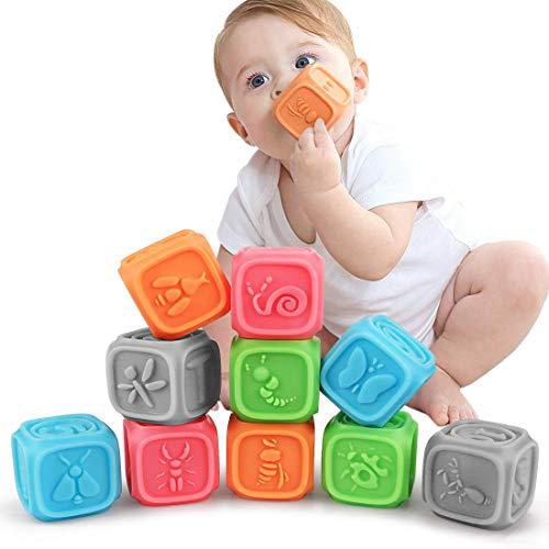 Baby Spielzeug für 3 6 9 12 Monate und Greiflinge Kleinkindspielzeug Soft Squeeze und Stack Block Set BPA FREI (10 stücke)
