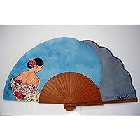 """Abanico español pintado a mano""""Mujer con mantón flamenco"""""""