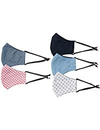 Amazon Brand - Symbol Men's Cotton Cloth Face Mask (Pack of 5)