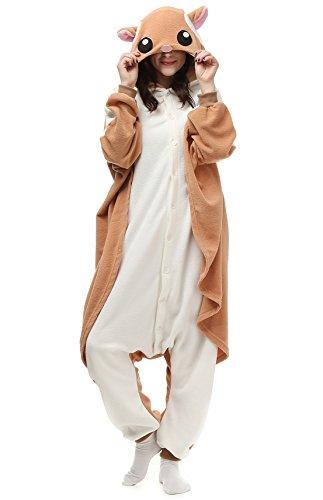 DATO Tier Pyjama Fliegendes Eichhörnchen Erwachsene Unisex Cospaly Onesies Nachtwäsche