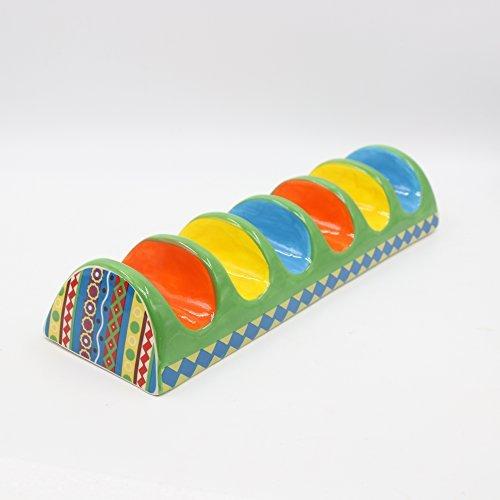 NeoCasa Taco Halter-  Keramik Lebensmittelqualität Material für Taco Ständer/ Gestell/ Truck / Tablett Handbemalte Keramik, Taco Halter halten 6 Hard oder Soft Shell Tacos