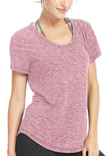 Damen Yoga Sweat Times Kurzarm T-Shirt Lose Sport T-Shirt Top Farbe Rosa Größe S