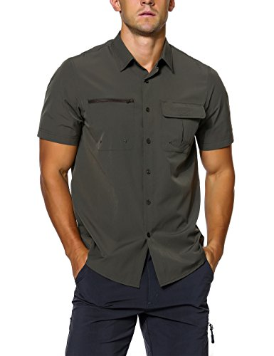 Unitop Herren Kurzarm Arbeitshemd Wandern Camping Shirt, Herren, grün, Medium - 95% Chinlon 5% Spandex