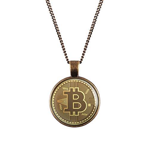 Mylery Hals-Kette mit Motiv Bit-Coin Krypto-währung Münze bronze 28mm