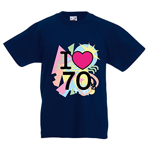 Kinder T-Shirt I love 70's - vintage style clothing (12-13 years Dunkelblau Mehrfarben)