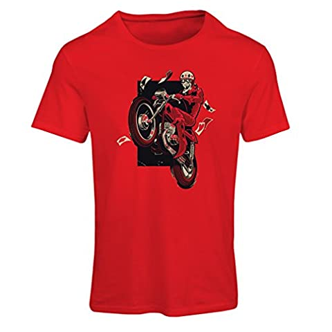 T shirts for women Motorcyclist - Motorcycle clothing, vintage designs retro clothing (X-Large Red Multi