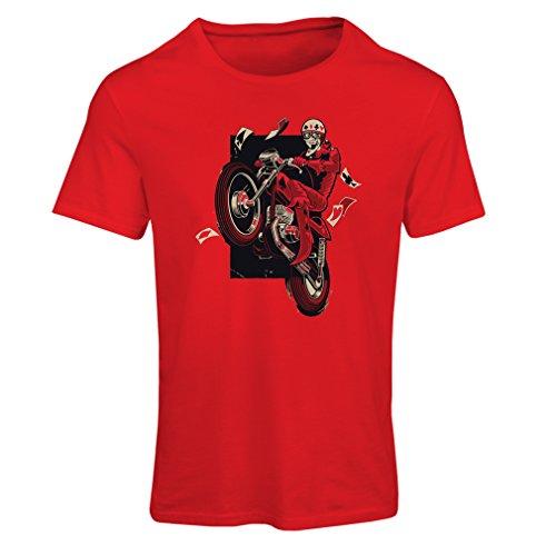 lepni.me Maglietta Donna Motorcyclist - Abbigliamento Moto, Abiti retrò (X-Large Rosso Multicolore)