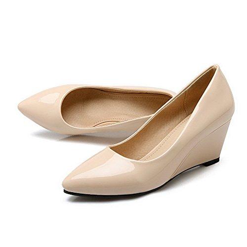 AllhqFashion Femme à Talon Correct Verni Couleur Unie Tire Pointu Chaussures Légeres Abricot