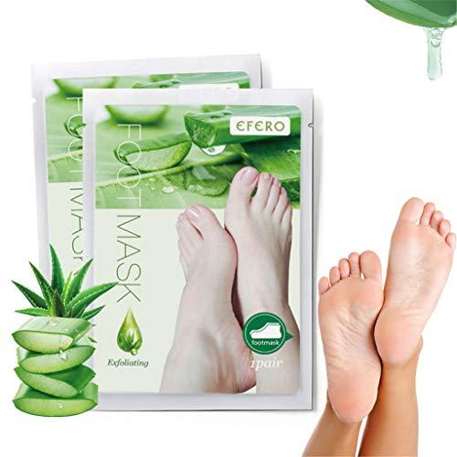 KUKICAT 2er Aloe Fußmaske zur Hornhaut Entfernung - Anti Hornhaut Socken als Fuß Peeling Maske - Fussmaske Top Ergebnisse in 3-7 Tagen - Fußpeeling Maske für Hornhautentfernung Foot Mask