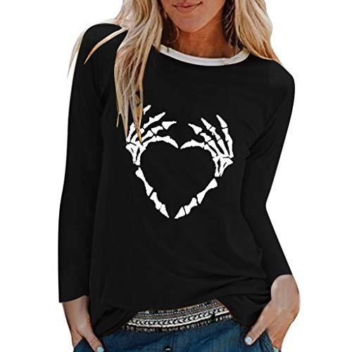 Kostüm Kadett Frauen - GOKOMO Halloween Dekoration Damen Tops Frauen Bluse handknöchel Schutz Pullover Halloween Langärmliges Hemd(Schwarz,XX-Large)