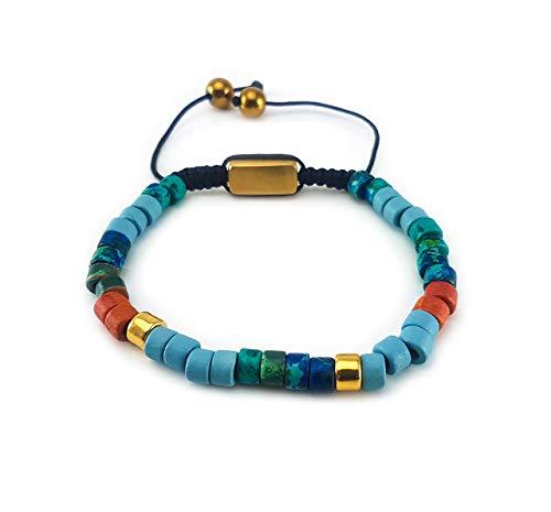 Herren Shamballa Keramic Armband Handgeflochten Edelstahl Perle Handmade Gold Modeschmuck - Armbänder Nepal Gold