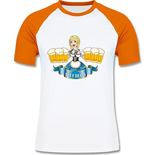 Oktoberfest Herren - Kirmes Mädchen - zweifarbiges Baseballshirt für Männer Weiß/Orange