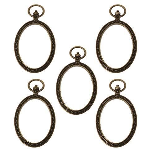 FURU Metals Frames Formen,5 Stücke Oval Taschenuhr Metallrahmen Anhänger Open Back Lünette Harz Schmuckherstellung