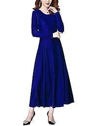 3384b6724915 Urban GoCo Donna Elegante Vestito Velluto a Manica Lunga Abito Lungo per  Cocktail Feste Ballo Sera