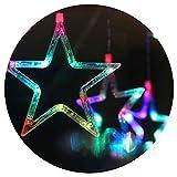 Lianqi Le luci della Tenda della Stella del LED di 2M, luci Stringa del Fairy per la Festa di Natale di Nozze Festa Indoor Decorazioni all'aperto Illuminazione Stringa con 8 Modi Flash Plug EU (RGB)