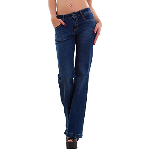 Toocool - Jeans donna pantaloni palazzo flare elasticizzati blu scuro denim nuovi G945 Blu