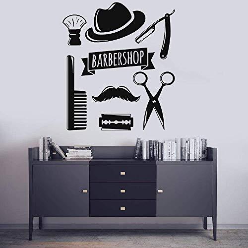 Barbershop Tools Wandaufkleber Gesicht Friseursalon Fenster Poster Frisur Stil Haar Mann Bart Barbershop Dekoration 70 * 80 Cm