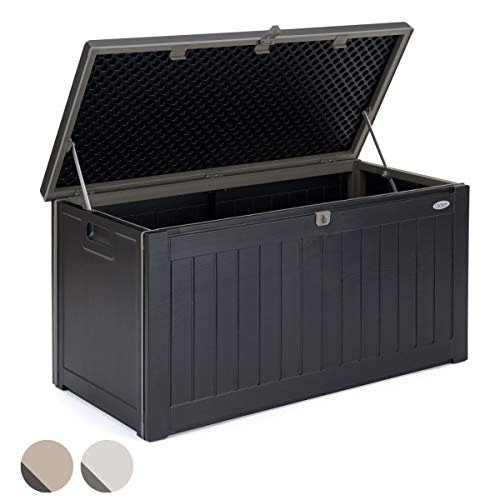 Christow Plastic Garden Storage Box Waterproof Outdoor Utility Container Furniture Cushion Tool Toy Chest Lockable Lid 190l Capacity