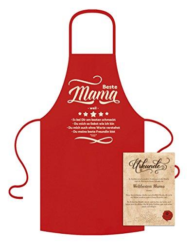 Preisvergleich Produktbild Geschenkidee Geburtstagsgeschenk Koch-Schürze Grill-Schürze Beste Mama weil Geburtstag Muttertag Frauen Geschenk Küche Farbe:rot
