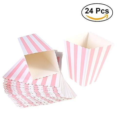 NUOLUX Popcorn-Boxen, Streifenmuster Dekoratives Geschirr für Party, 12 x 7CM, 24 Stück, Pink (24 Satz Box)