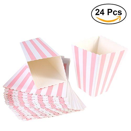 SALOCY Popcornboxen, Popcorn Tüten, Süßwarenbehälter aus Papier für Gastgeschenke, 24 Stück, Rosa (Kino-stil Popcorn Wanne)