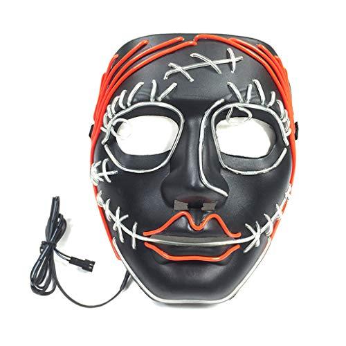 Erisl Halloween-Kostüm, lustige LED-Maske zum Entfernen von Draht, DJ-Party, Festival, Cosplay, Kostüm, im Dunkeln leuchtende Totenkopf-Masken (Lustige Pferde Maske Kostüm)
