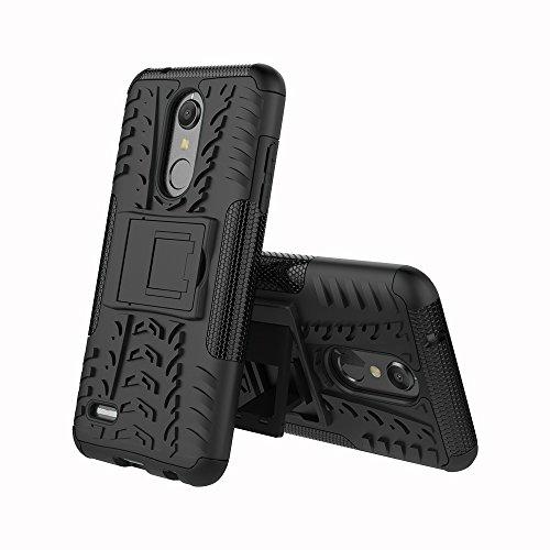 CMID LG K11 Hülle, LG K10 (2018) Hülle, Tough Rugged Handytasche [Heavy Duty] Dual Layer [Ständer] Hard PC und TPU Silikon Gummi Defender Schutzhülle Case Cover für LG K11 / LG K10 (2018) (Schwarz)