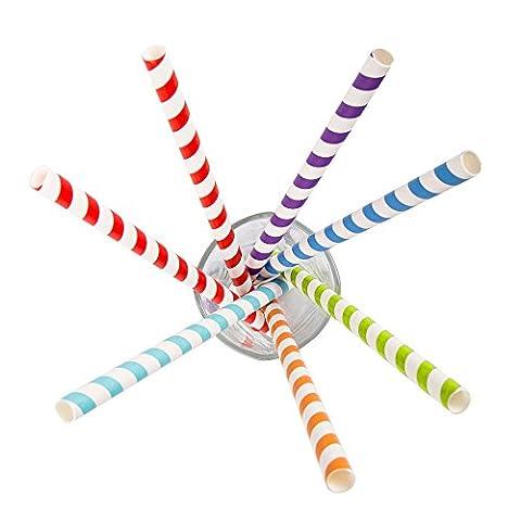 Jumbo rétro Couleur rayé pailles papier jetables–solide 60