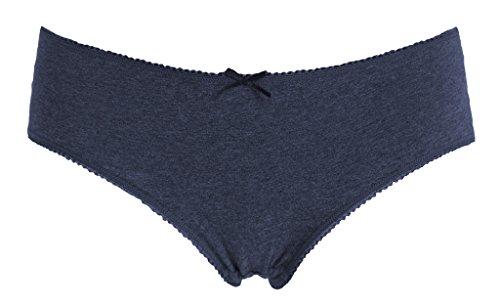 Attraco Damen Slips Baumwolle Bikinislips Streifen Details 4 Pack Grau / Grün / Blau / Violett
