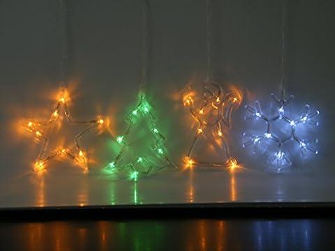 Best Season Fensterbild Weihnachtsbaum mit 8 LED grün 20 x 16 cm