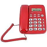 Telefono con filo Bewinner, Telefono fisso da tavolo, Telefono fisso senza fili con segreteria telefonica per casa / hotel con batteria senza design / ID chiamante / Presenza tempo chiamante (rosso)