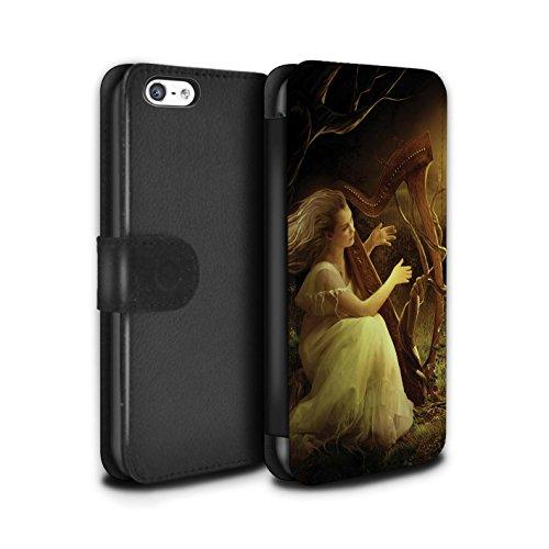 Officiel Elena Dudina Coque/Etui/Housse Cuir PU Case/Cover pour Apple iPhone 5C / Chanson de Fleurs Design / Réconfort Musique Collection Mélodie du Silence