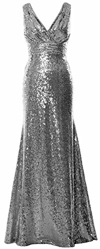 MACloth Women Long Bridesmaid Dress 2017 Sequin V Neck Formal Party Evening Gown gray