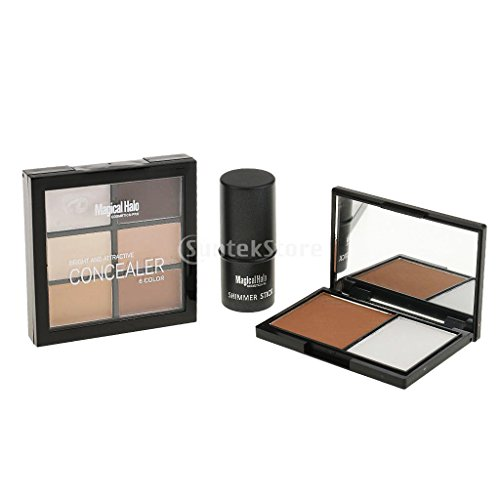 Segolike Beauty 6 Colors Face Correcting Concealer Palette + Shimemr Highlight Stick + 2 Color Bronzing Powder Makeup Set - #a