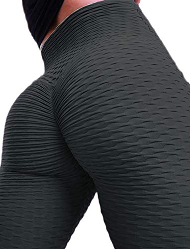 e01b0455e9852 Women's Ruched Butt Fitness Leggings High Waist Stretchy Honeycomb Texture  Running Tights From RIOJOY