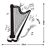Exposition stickers muraux, salle de musique harpe stickers muraux décoration de la maison auto-adhésive diy harpe silhouette salon détachable