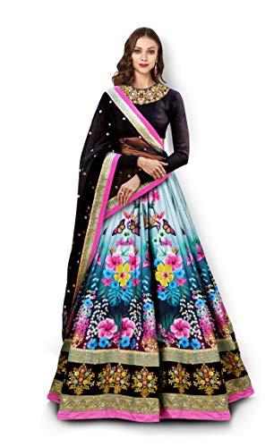 Zeel Clothing Women\'s Velvet Silk Lehenga Choli (7005-ZC_Black_Free Size)
