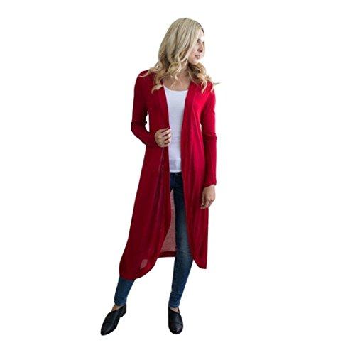DOLDOA Frauen Langarm Maxi Strickjacke Open Floaty Jacke Mantel Outwear Bluse (EU: 46, Rot) (Neckholder-maxi-kleid Geflochtene)