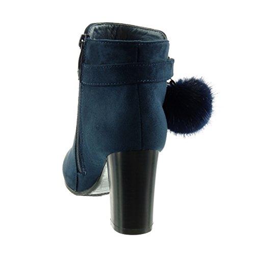 Angkorly - Scarpe da Moda Stivaletti - Scarponcini cavalier donna pon pon pelliccia tanga Tacco a blocco tacco alto 8 CM - soletta Foderato di Pelliccia Blu