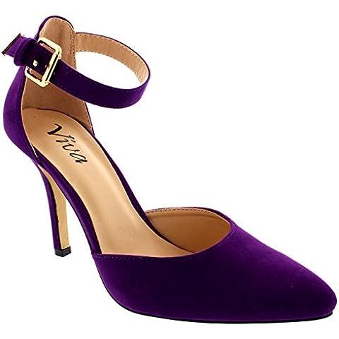 Mujer Correa Tobillo Bajo Mediados Talón Oficina Trabajo Zapatos Gamuza