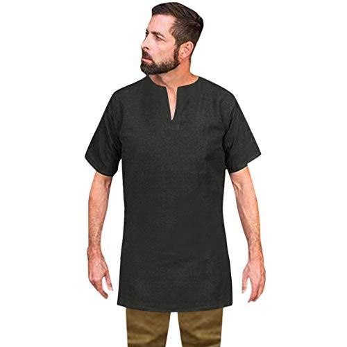 EUZeo Herren Vintage Baggy Baumwolle Leinen Solide Kurzarm Retro T Shirts Tops Bluse Retro Stil Patchwork Hemden Shirts