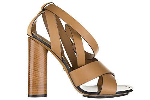 Gucci sandali donna con tacco pelle lifford maori marrone EU 37 381393 AEMT0 2613