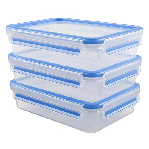 Emsa 515645 Food Clip & Close,Plastik, Transparent / Blau, 1,2 Liter, Set mit 3 Boxen