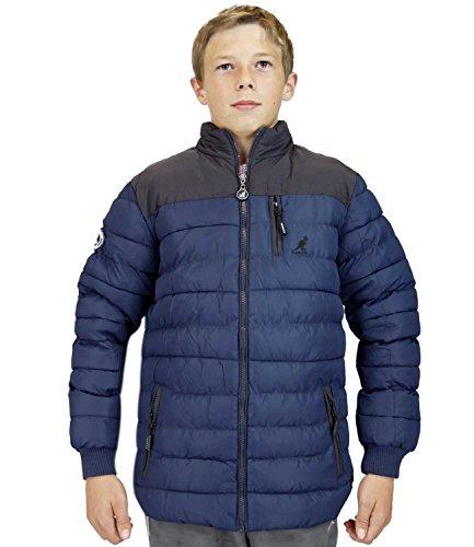 Kinder Kangol gepolsterte Jacke Funnel Neck Patches linierten Blase Puffer Airforce Blue
